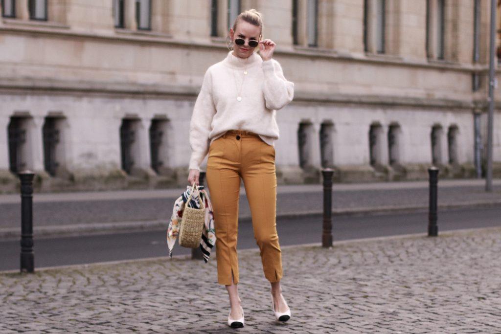 Frühlingsoutfit - Paperbaghose mit Chanel look a like Pumps und Korbtasche von Zara