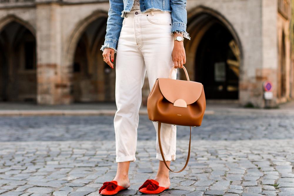 Polene Tasche mit Flattered Mules