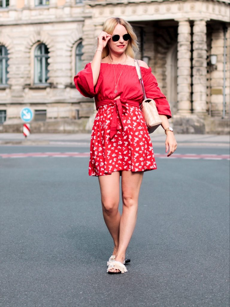 high waisted flower dress red